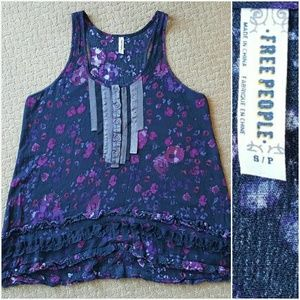 Free People Trapeze Tank Ruffle Lace Floral Small